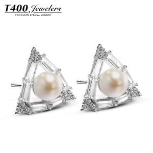 T400仿珍珠耳钉女韩国气质简约个性银饰耳坠防过敏几何简约耳饰品  8774