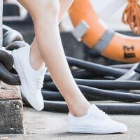 小白鞋皮面帆布鞋女夏板鞋2016潮 平跟 学生韩版 文艺百搭休闲鞋