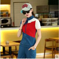 韩版拼色运动服休闲运动套装女夏 新款女装时尚短袖7分裤