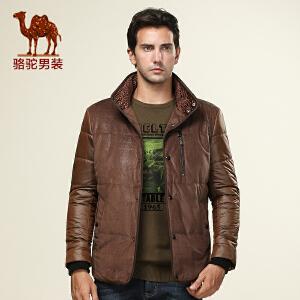 骆驼男装 男士短款修身棉衣 立领单排扣休闲薄款棉衣 男