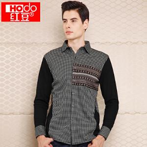 红豆 秋冬新款韩版修身加绒休闲衬衫男装加厚保暖内衣