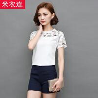 米衣连夏季短袖衬衫韩版女装上衣印花蕾丝拼接雪纺衫+热裤短裤两件套装