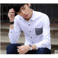 韩版学生休闲寸衫帅气百搭衬衣潮条纹拼接口袋衬衫男长袖