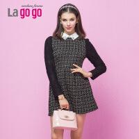 Lagogo/拉谷谷冬季新品修身蕾丝拼接连衣裙DDB935J725