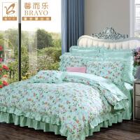 富安娜家纺馨而乐纯棉床单四件套 全棉床上用品 印花套件 芳草幽梦 豆蔻私语  绿色 1.5米(5英尺)床