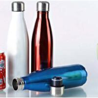 500ML可乐瓶304不锈钢保温杯 双层子弹头水杯真空直身杯保冷杯 PRB04 红色
