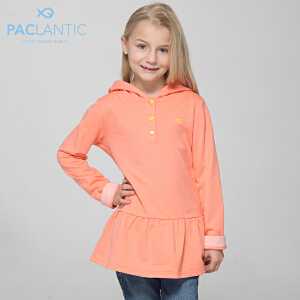 派克兰帝品牌童装  夏装女童运动连帽长袖T恤式连衣裙 针织连衣裙