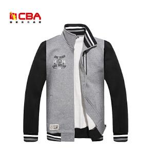 CBA男子卫衣 正品运动卫衣男子开胸翻领拼接撞色立领时尚运动外套