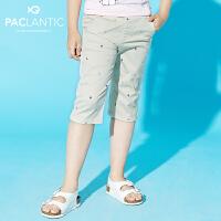 派克兰帝品牌童装 夏装男童梭织印花七分裤 男中大七分短裤