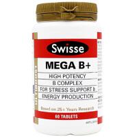 【澳洲直邮】Swisse MEGA B+ 复合维生素B族60粒 2瓶价 海外购