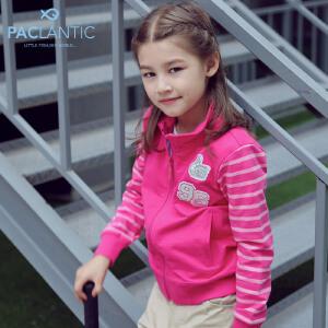 派克兰帝童装 女童色织拼接针织立领开衫外套