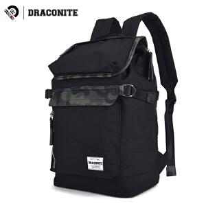 【支持礼品卡支付】DRACONITE韩版迷彩翻盖背包双肩包男士时尚潮流牛精纺书包11248A