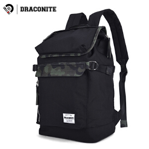 DRACONITE韩版迷彩翻盖背包双肩包男士时尚潮流牛精纺书包11248A