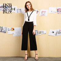 欧莎夏装女2017夏装新款女装黑色显瘦阔腿休闲裤B52004