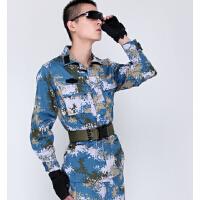 户外军迷海洋迷彩作训服真人CS特种兵作战服套装火蓝刀锋男士海洋迷彩军训服作训军迷服