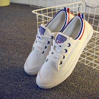 白色帆布鞋女夏2016明星同款平跟学生韩版小白鞋女士布鞋休闲鞋