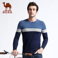 骆驼男装 秋季新款套头圆领时尚拼色直筒青年休闲长袖毛衣男针织衫