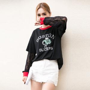 蕾丝假两件套图案宽松女T恤圆领学生原宿GT759-7367