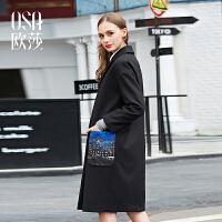 限时抢欧莎冬装新品韩版西装领廓形感中长款毛呢外套D21119