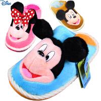 新款迪士尼米奇儿童棉拖鞋超柔鹿皮绒冬季防滑拖鞋男女童家居亲子款厚底拖鞋