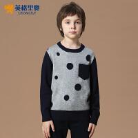 2016男童秋冬装新款英伦圆点羊毛针织衫中大儿童休闲圆领套头毛衣LLB1258
