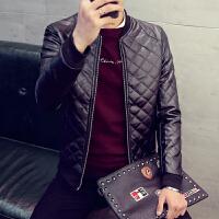 夹克男保暖皮夹克冬装加棉外套韩版修身纯色夹克上衣男皮衣潮