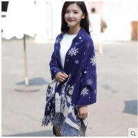 精致雪花时尚流苏加厚保暖毛线针织围巾清新甜美百变韩国风超大披肩
