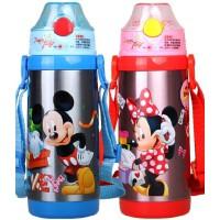 新款迪士尼吸管杯真空不锈钢水壶儿童保温杯380ml防漏吸管米奇杯子5713