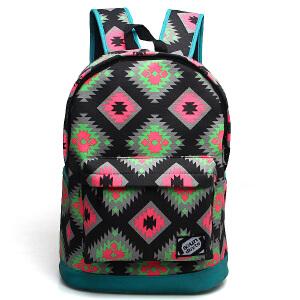 韩版潮印花双肩包女学院风学生书包休闲旅行背包电脑包