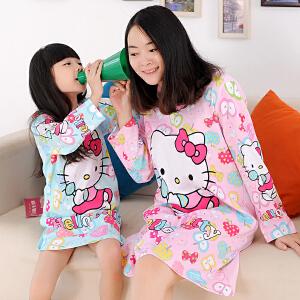阿拉兜春夏儿童睡裙 纯棉儿童睡衣 女童长袖厚棉空调房睡睡裙 四季可穿的睡袍 81202
