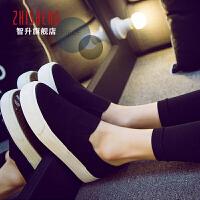 秋季一脚蹬懒人鞋女帆布鞋厚底休闲鞋黑色板鞋女乐福鞋学生小白鞋