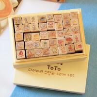 韩国文具 原木卡通toto可爱兔兔木盒装印章 木质日记小印章40枚入
