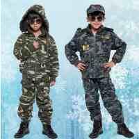 童装 迷彩服男童冬装套装 儿童加绒加厚军装 牛仔中大小童迷彩装
