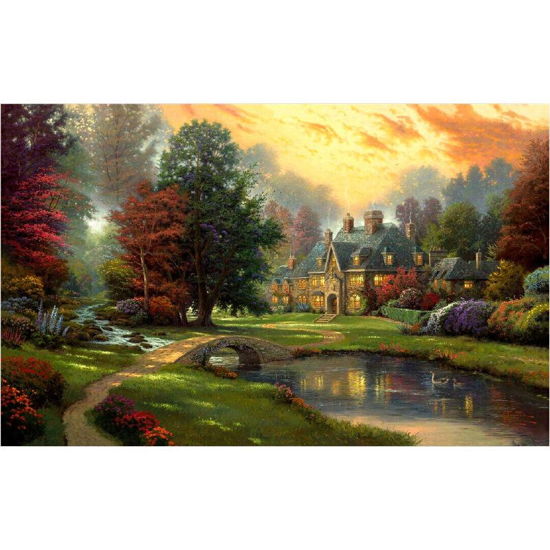 成人1000片木質拼圖1500世界名畫唯美風景油畫秋天的傍晚