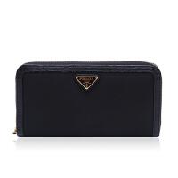 Prada/普拉达黑色混合材质纯色女士长款钱夹