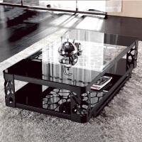 择木宜居 现代简约铁艺金属茶几 小户型钢化玻璃茶几 边几 边桌