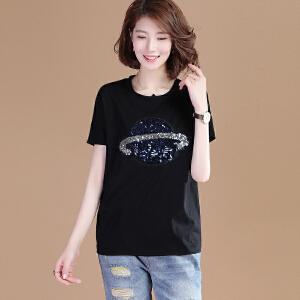 夏装新款白色蕾丝袖短袖t恤女宽松韩版学生半袖衣服体恤衫BH500-1998
