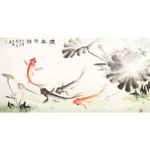 世界华人书画院副院长 一级美术师 魏大��《连年有余》