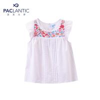 派克兰帝品牌童装  夏装女童甜美绣花短袖衬衫 儿童衬衫