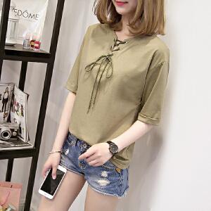夏季韩版系带镂空上衣宽松白色学生短袖T恤女潮牌JM028-7122
