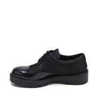 PRADA普拉达镂空元素女士方跟系带休闲鞋 支持礼品卡支付