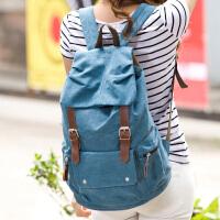 吉野2016新款韩版女包包休闲时尚女士双肩包潮流男女背包帆布包学生书包学院风旅行背包大包包6300