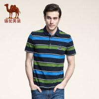 骆驼男装 男士商务休闲纯棉短袖T恤 polo款青年条纹衬衫领体恤衫