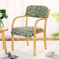 亿家达实木餐椅家用现代简约布艺书桌椅 原木单人咖啡椅子办公椅