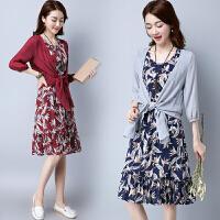 【仅限今日,下单立减30】夏季棉麻大码女装棉麻连衣裙两件套文艺裙FLA1043-065