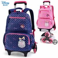 迪士尼(disney)三轮拉杆书包儿童女小学生书包3-6年级拉杆儿童背包