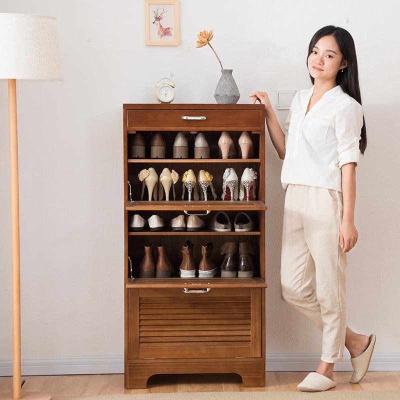 家逸 实木翻门鞋柜 防尘大容量玄关柜 木质家具储物柜 多功能收纳柜翻