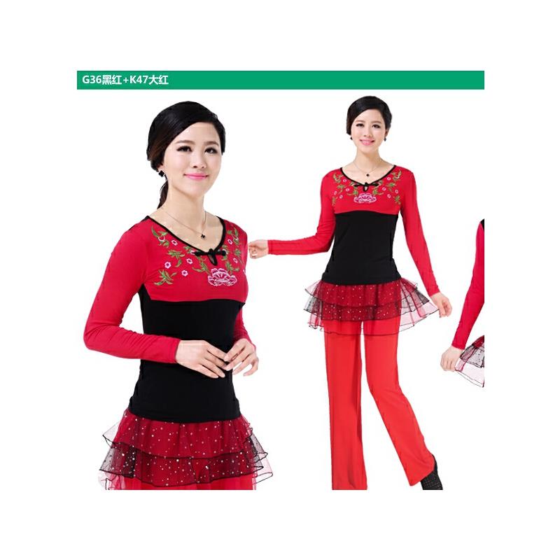 新款长袖上衣新品广场舞服装套装民族风绣花裙子_g36黑红 k41黑红图片