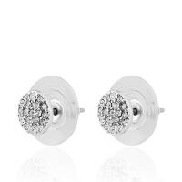 Arts & Crafts/A&C signature系列银色圆形仿水晶女士耳钉 支持礼品卡支付