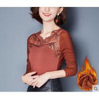 秋冬装新款刺绣大码上衣小衫加绒加厚蕾丝打底衫女长袖修身